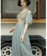 Elegant V-neck Grey Tulle Floor-Length Bridesmaid Prom Evening Party Dre... - £50.75 GBP+