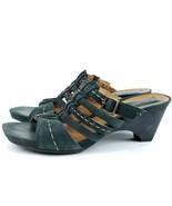 Clarks Artisan 6.5 M Black Strappy Leather Platform Heel Sandals 86947 - $17.59