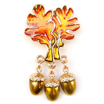 Orange Tree Leaf Yellow Gold Pine Cone Sparkle Lovely Cool Fun Brooch Pi... - $9.99