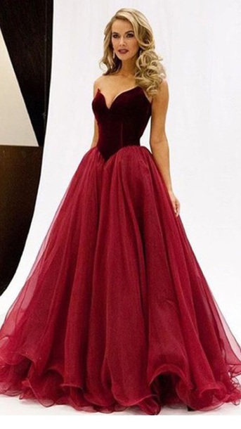 Buygundy Long Prom Dress Sweetheart Evening Dress A-Line Formal Dress,HH069