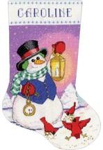 Design Works Snowman Lantern Christmas Cardinals Cross Stitch Stocking K... - $32.95