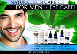 Deluxe Mens Natural Skin Care Kit Plus Eye Care Set of 8 - $157.44
