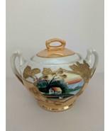 Stunning Lusterware Sugar Bowl Hand-Painted Moriage Japan Landscape Swan... - $24.70