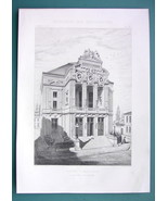ARCHITECTURE 2 PRINTS 1869: THEATER at Angouleme Perspective + Side Facade - $16.84