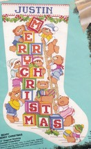 Bucilla Beary Merry Christmas Baby Blocks Bear Cross Stitch Stocking Kit 82920 E - $72.95