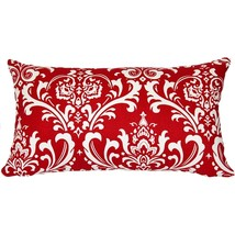 Pillow Decor - Royal Red Damask Throw Pillow 13x24 - £22.86 GBP