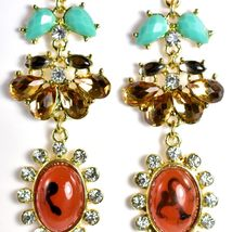 """Mode Red-Brown Lucite Bead 2.5"""" Drop Post Dangle Earrings New with Tag image 3"""