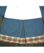 "Blue Denim Crib Skirt Red Plaid Trim Preppy Box Pleat My Baby Sam 15"" drop - $19.00"