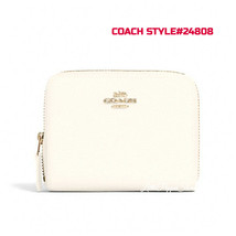 COACH SMALL ZIP AROUND WALLET IN LEATHER IM/CHALK STYLE#24808 - $78.09