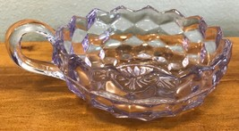 Vintage Fostoria Lavender Cube Pattern Nappy Handled Bowl USA - $28.04