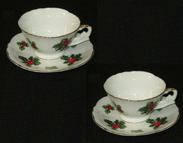 2 Lefton Vintage China Cup Saucer Demitasse 7951 Christmas Holly Berries... - $18.80