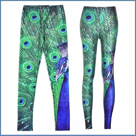 Peacock Printed Skin Tight Stretch High Waist Fashion Leggings in Many Sizes