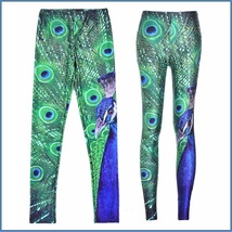 Peacock Printed Skin Tight Stretch High Waist Fashion Leggings in Many Sizes image 1