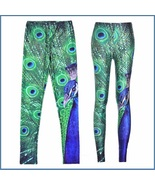 Peacock Printed Skin Tight Stretch High Waist Fashion Leggings in Many S... - $48.95