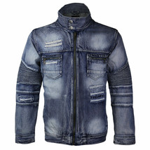Contender Men's Distressed Multi Pocket Zip Up Cotton Denim Jean Jacket 9DJ03 image 2
