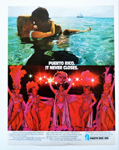 Vtg 1971 Puerto Rico showgirls travel tourism advertisement print ad art - $11.38