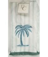 "Hand Towel Set of 2 Coastal Decor 20"" x 28"" 100% Cotton Palm Tree Beach ... - $39.00"