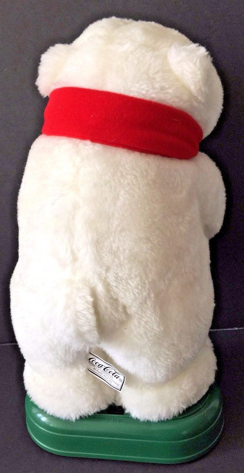 1996 Coca Cola Christmas Holiday Musical White Polar Bear With Lighted Candle 12