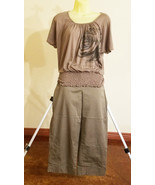 womens clothes lot Rafaella gray capris short pants peasant rose top siz... - $12.99