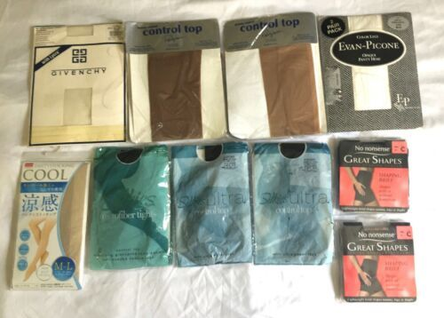 Vintage Lot 11 Collants Givenchy Silkies Collant Pur Contrôle Haut USA Bas