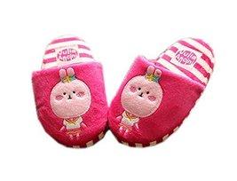 Fuchsia Bunny Girls Slippers Fluzzy Warm Footwear, 3-6 Yrs