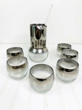 Vintage Cocktail Set Silver Rim Roly Poly Dorothy Thorpe Drink MCM Fade ... - $76.44
