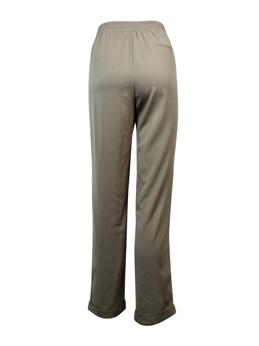 NY Collection Women's Pleated Drawstring Pants XL, Mushroom image 3