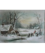 Victorian Framed William Henry Chandler Winter Scene Print ca. 1915 - $300.00