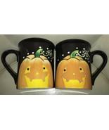 2 Jennifer Clarke Halloween Pumpkin Ceramic Cups Mugs Certified Internat... - $15.83