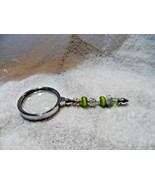 """Handcrafted  pastel green floral beaded magnifying glass 5.75"""" - $25.00"""