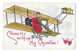 HB Griggs Artist Signed Couple in Biplane Embossed 1911 Valentine Postcard - $8.99