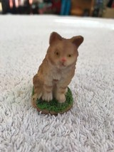 Cat Kitten Figure Miniature Brown Resin Sitting Patiently Waiting On Grass - $6.15
