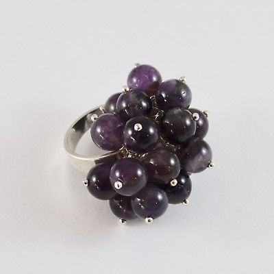 925 SILVER RING CLUSTER MUNITIONS WITH AMETHYST TONDA DI 8 MM SIZE ADJUSTABLE