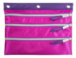 Case-It Pink Purple 3-Ring Binder Zipper Pen Pencil Marker Case School Supplies