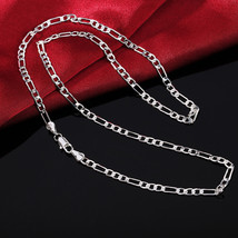 16-30inches 4MM chain women lady men hot Silver color exquisite luxury gorgeous  - $9.43