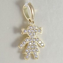 Yellow Gold Pendant, Pink Or White 750 18K, Child, Baby Girl With Zircon, Italy image 2