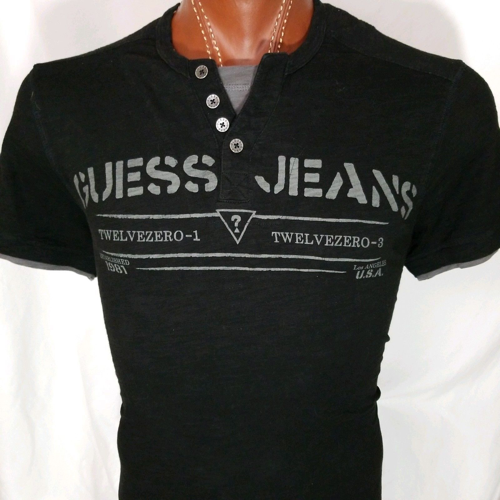 d9fedb15ced0 Guess Jeans Men's Black Henley 100% Cotton and 50 similar items