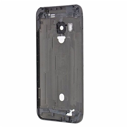 sunways Black Battery Door Cover Back Case for HTC One M9 with Glass Lens Cover