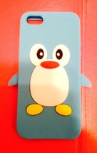 Lt Blue  Penguin Silicon Soft Rubber Skin Case Cover For Apple iPhone 5 5S NEW!