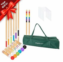Lawn Croquet Set for Kids & Families - Six Player Croquet Game with 6 Ma... - $47.28