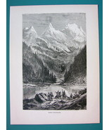 AMERICAN WEST Indians in Rocky Mountains - 1866 Antique Print  - $16.20