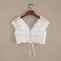 White Cap Sleeve V Neckline Lace Tanks Boho Wedding Bridesmaid Tops Covers-plus  image 5