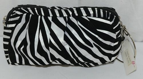 Natalie Brand 404MZE Black White Zebra Striped Clutch Removable Shoulder Strap
