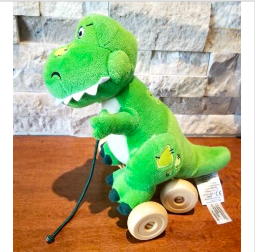 "Toy Story T-Rex Dinosaur on Wheels Pull toy 9"" Disney Store Baby Shower Decor"