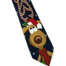 Holiday Traditions Hallmark Mens  NeckTie by MMG Navy Rudolph Reindeer P261 - $7.85