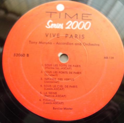 Tony Murena Accordion & Orchestra - Vive Paris - Time Records 52060