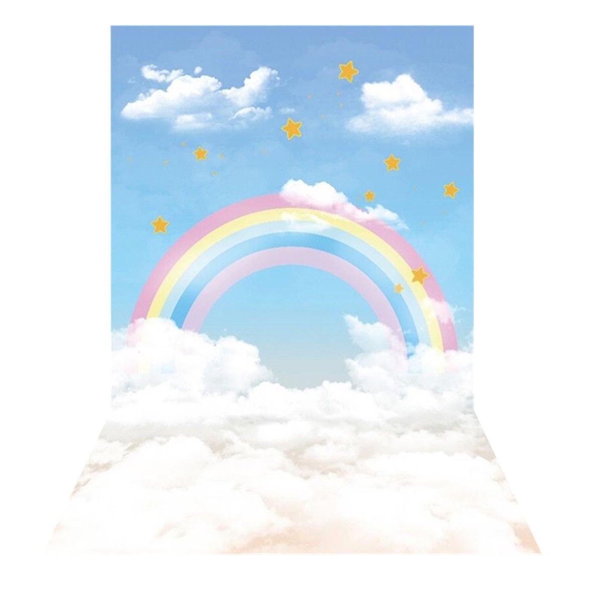 2.1m x 1.5m Rainbow Clouds Stars Theme Photography Vinyl Backdrop Studio Backgro
