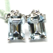 18K WHITE GOLD AQUAMARINE EARRINGS 1.60 EMERALD CUT, DIAMONDS, MADE IN ITALY image 1
