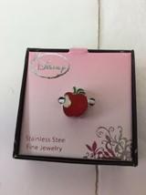 Disney Stainless Steel Enamel Red Apple Snow White Bead Bracelet Charm Jewelry - $18.55