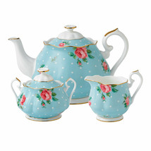 Royal Albert China Polka Blue 3 pc Tea Set Teapot, Sugar, Creamer #POLBL... - $286.11